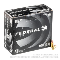 250 Rounds of 9mm Ammo by Federal Black Pack - 115gr FMJ