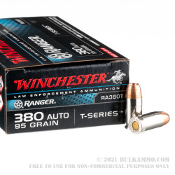 50 Rounds of .380 ACP Ammo by Winchester - Ranger T Series - 95gr JHP