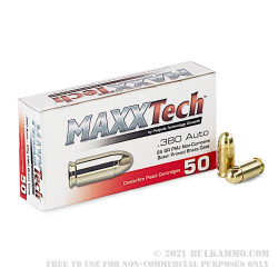 1000 Rounds of .380 ACP Ammo by MAXXTech - 95gr FMJ
