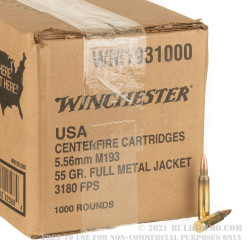 1000 Rounds of 5.56x45 Ammo by Winchester USA - 55gr FMJ