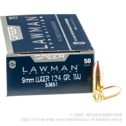 50 Rounds of 9mm Ammo by Speer - 124gr TMJ RN