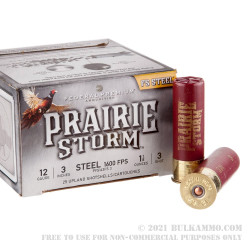 25 Rounds of 12ga Ammo by Federal Prairie Storm - 1-1/8 ounce #3 Steel Shot