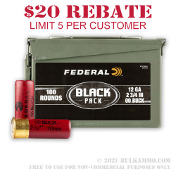 100 Rounds of 12ga Ammo by Federal Black - 00 Buck - 9 Pellet
