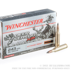 20 Rounds of .243 Win Ammo by Winchester Deer Season XP - 95gr XP