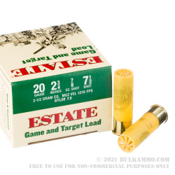 25 Rounds of 20ga Ammo by Estate Cartridge - 7/8 ounce #7 1/2 shot