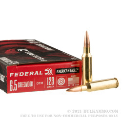 20 Rounds of 6.5 Creedmoor Ammo by Federal American Eagle - 123gr OTM