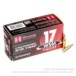 50 Rounds of .17 WSM Ammo by Hornady Varmint Express - 20gr V-MAX