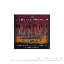 "250 Rounds of 12ga 3"" Ammo by Federal Black Cloud FS Steel High Velocity - 1 1/8 ounce #4 shot"