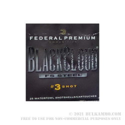 """25 Rounds of 12ga Ammo by Federal Black Cloud FS Steel - 2-3/4"""" 1 ounce #3 Shot"""