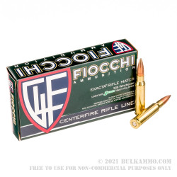 20 Rounds of .308 Win Ammo by Fiocchi Exacta Match - 175gr MatchKing HPBT