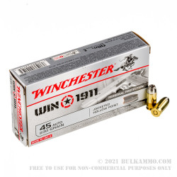 500 Rounds of .45 ACP Ammo by Winchester - 230gr JHP
