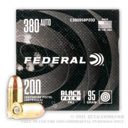 200 Rounds of .380 ACP Ammo by Federal Black Pack - 95gr FMJ