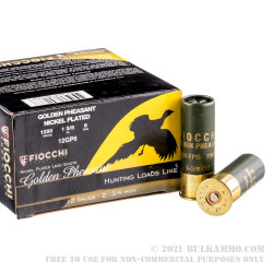 25 Rounds of 12ga Ammo by Fiocchi Golden Pheasant - 1 3/8 ounce #6 Nickel Plated shot