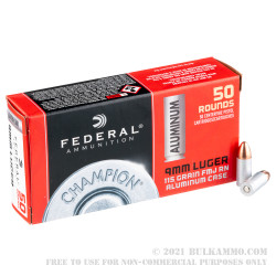 50 Rounds of 9mm Ammo by Federal Champion - 115gr FMJ
