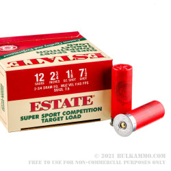 25 Rounds of 12ga Ammo by Estate Cartridge - 1 1/8 ounce #7 1/2 shot