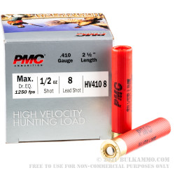 25 Rounds of .410 Ammo by PMC High Velocity Hunting Load - 1/2 ounce #8 Shot