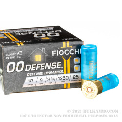 25 Rounds of 12ga Ammo by Fiocchi - 9 pellet 00 buckshot