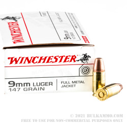 50 Rounds of 9mm Ammo by Winchester - 147gr FMJFN