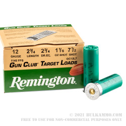 250 Rounds of 12ga Ammo by Remington - 1 1/8 ounce #7 1/2 Shot