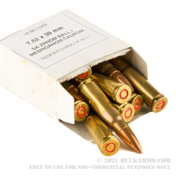 1260 Rounds of 7.62x39mm Ammo by Igman (Brass Case) - 124gr FMJ
