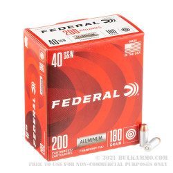 200 Rounds of .40 S&W Ammo by Federal Champion - 180gr FMJ