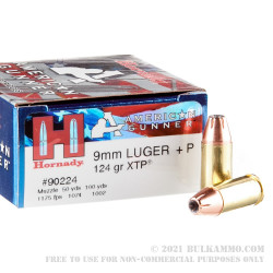 250 Rounds of 9mm + P Ammo by Hornady - 124gr XTP JHP