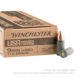 50 Rounds of 9mm Ammo by Winchester (Steel Case) - 115gr FMJ