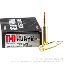 20 Rounds of .243 Win Ammo by Hornady Precision Hunter - 90gr ELD-X