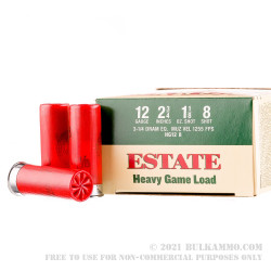 250 Rounds of 12ga Ammo by Estate Cartridge - #8 shot