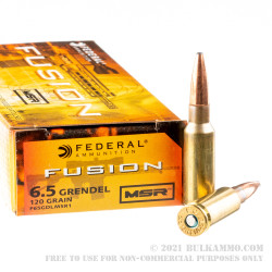 20 Rounds of 6.5 Grendel Ammo by Federal Fusion Rifle - 120gr SP