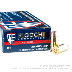 1000 Rounds of .45 ACP Ammo by Fiocchi - 230gr JHP