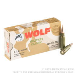 20 Rounds of 6.5mm Grendel  Ammo by Wolf Military Classic - 100 gr FMJ