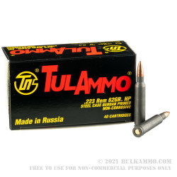 1000 Rounds of .223 Ammo by Tula - 62gr HP