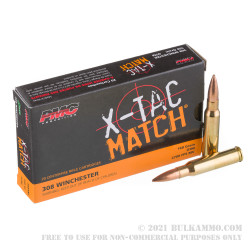 20 Rounds of .308 Win Ammo by PMC - 168 Grain Sierra MatchKing OTM