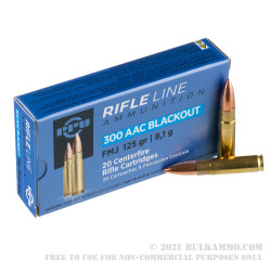 20 Rounds of .300 AAC Blackout Ammo by Prvi Partizan - 125gr FMJ