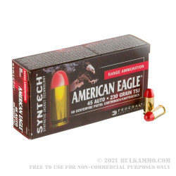 50 Rounds of .45 ACP Ammo by Federal Syntech - 230gr Total Synthetic Jacket