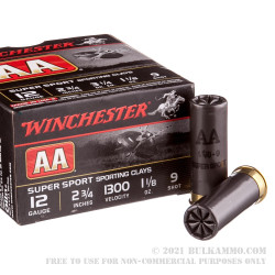 """25 Rounds of 12ga Ammo by Winchester AA - 2-3/4"""" 1-1/8 ounce #9 shot"""