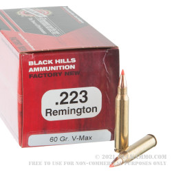 500 Rounds of .223 Ammo by Black Hills Ammunition - 60gr V-MAX