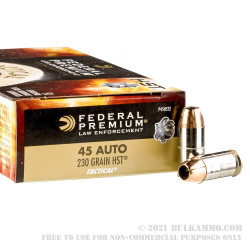 50 Rounds of .45 ACP Ammo by Federal - 230gr JHP HST LE