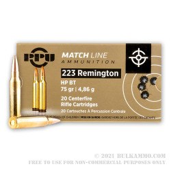 1000 Rounds of .223 Ammo by Prvi Partizan Match - 75gr HPBT