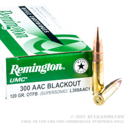 200 Rounds of .300 AAC Blackout Ammo by Remington - 120gr OTFB