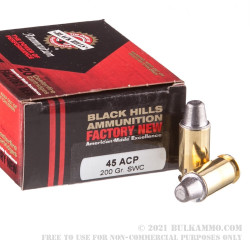 20 Rounds of .45 ACP Ammo by Black Hills Ammunition - 200gr Semi-Wadcutter