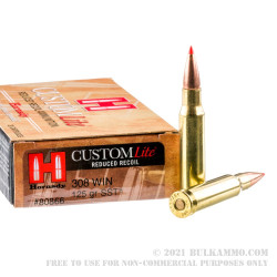 200 Rounds of .308 Win Ammo by Hornady Custom Lite - 125gr SST