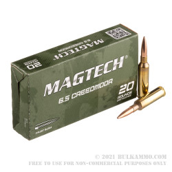 20 Rounds of 6.5 Creedmoor Ammo by Magtech - 140gr FMJBT