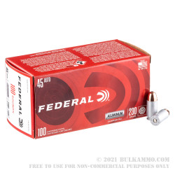 100 Rounds of .45 ACP Ammo by Federal Champion (Aluminum) - 230gr FMJ