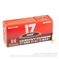 200 Rounds of .17HMR Ammo by Hornady - 17gr V-Max