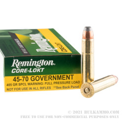 20 Rounds of .45-70 Ammo by Remington Core-Lokt - 405gr SP