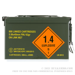 800 Linked Rounds of 5.56x45 Ammo in Ammo Can by Magtech - 62gr FMJ