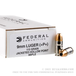 1000 Rounds of 9mm Ammo by Federal LE - 115gr +P+ JHP