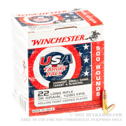 500 Rounds of .22 LR Ammo by Winchester USA Game & Target - 36gr CPHP